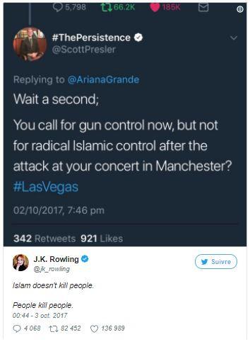"""fr.shafaqna - """"L'islam ne tue pas les gens. Les gens tuent les gens"""", réplique JK Rowling à un twittos islamophobe"""