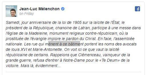 fr.shafaqna - Mélenchon s'indigne de la participation de Macron à la cérémonie religieuse pour Johnny Hallyday