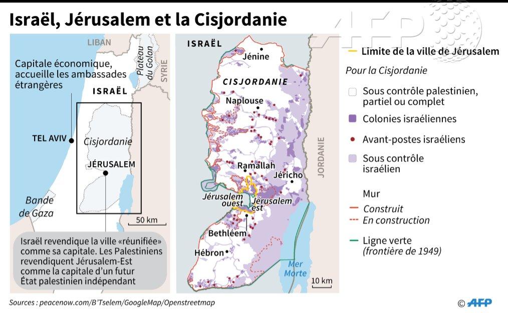 fr.shafaqna - Le Carte : Israel, Jérusalem et la Cisjordanie