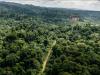 Vue aérienne de la zone de la «Montagne d'Or», où se situe un vaste projet d'exploitation d'une mine d'or actuellement débattu en Guyane, le 12 octobre 2017. | Jody AMIET / AFP